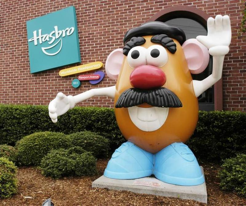 A statue of Hasbro's iconic Mr. Potato Head character is pictured in front of the Company's global corporate headquarters in Pawtucket