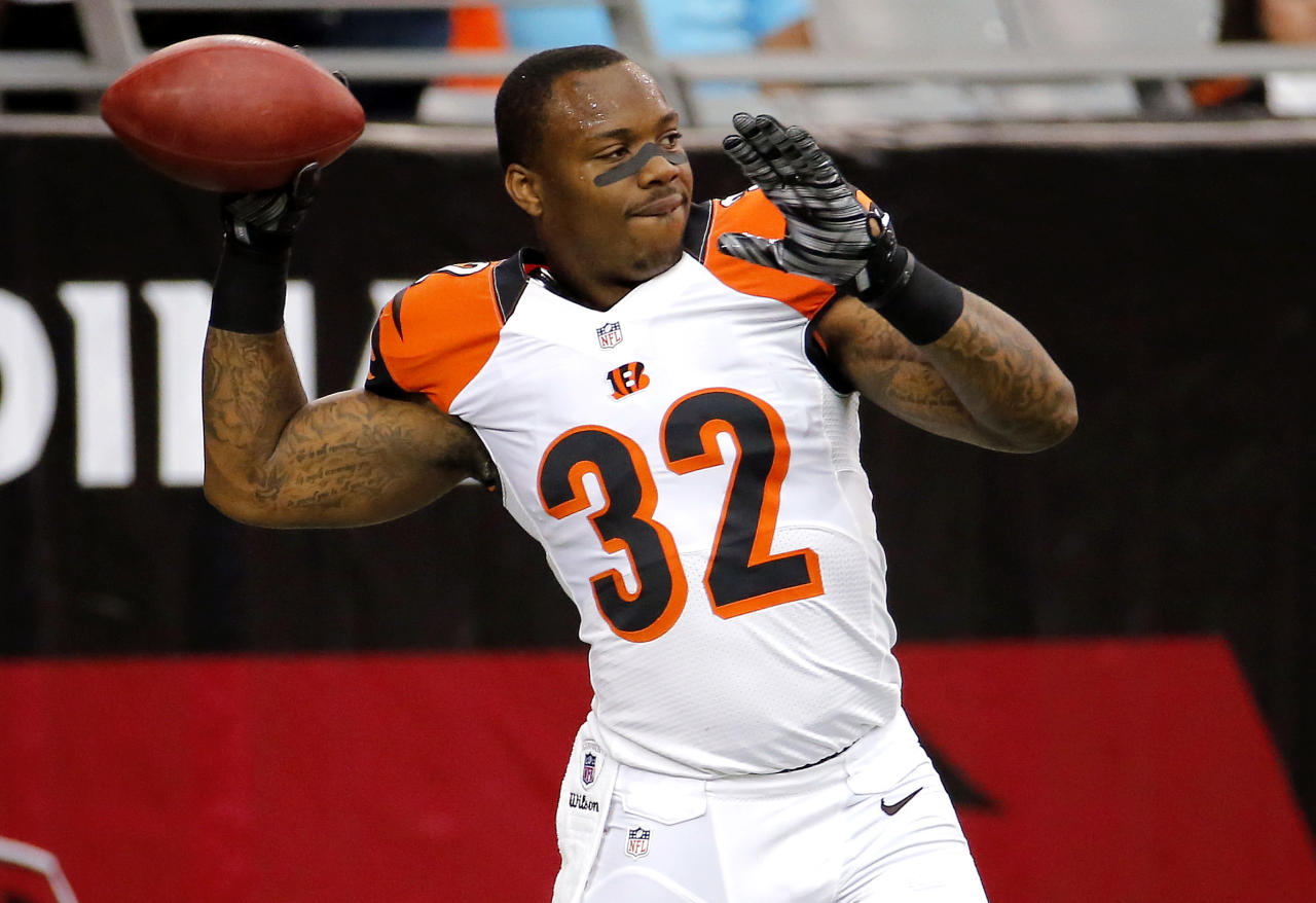 Cincinnati Bengals running back Jeremy Hill (32) warms up prior to an NFL preseason football game against the Arizona Cardinals, Sunday, Aug. 24, 2014, in Glendale, Ariz. (AP Photo/Matt York)
