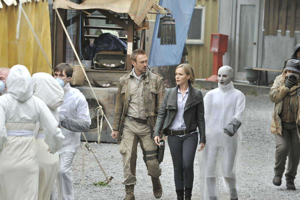 """Grant Bowler as Chief Lawkeeper Joshua Nolan, Julie Benz as Mayor Amanda Rosewater, and Trenna Keating as Doc Yewll in the """"Defiance"""" episode, """"If I Ever Leave This World Alive."""""""
