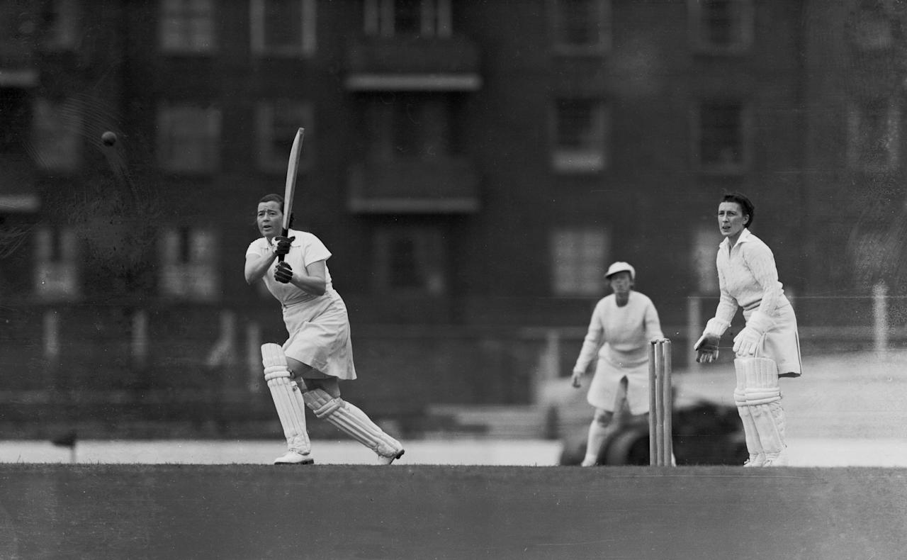 [ICCWWC2013] 5th July 1948:  Miss Myrtle MacLagan batting for the Home Counties in a two - day match versus The Rest of England at the Oval.  (Photo by Central Press/Getty Images)