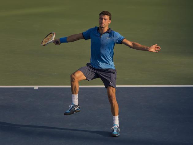 Grigor Dimitrov (BUL) in action during his match against Ryan Harrison (USA) Wednesday. (Susan Mullane-USA TODAY Sports)