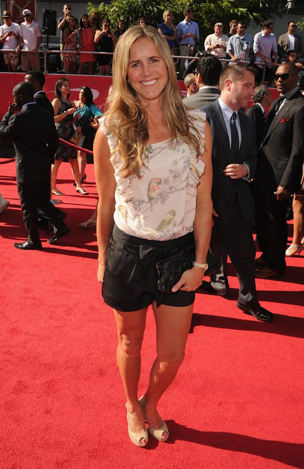 LOS ANGELES, CA - JULY 11:  Professional soccer player Brandi Chastain arrives at the 2012 ESPY Awards at Nokia Theatre L.A. Live on July 11, 2012 in Los Angeles, California.  (Photo by Steve Granitz/WireImage)