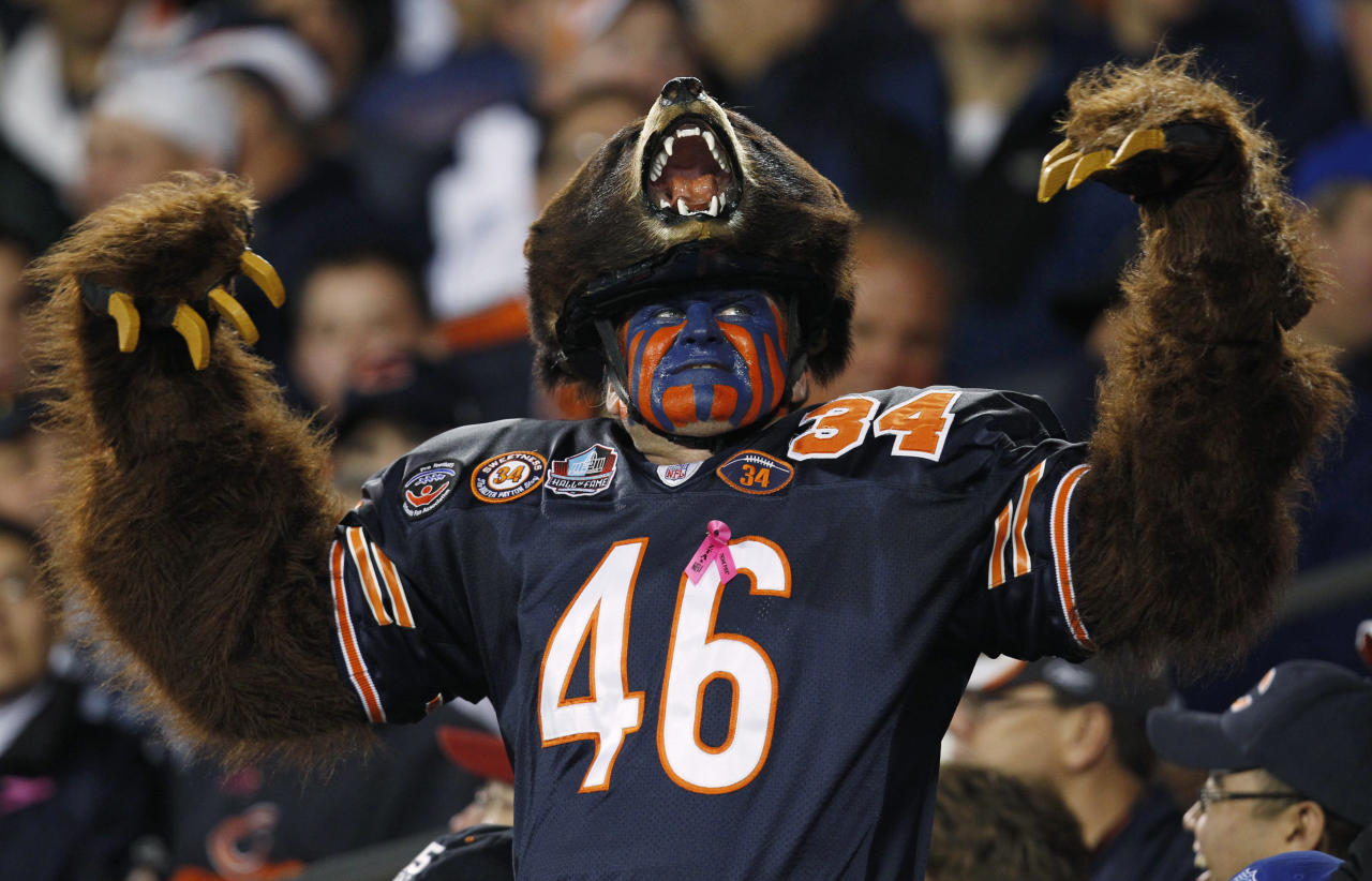 A Chicago Bears fan reacts in the stands during game between the Bears and the Detroit Lions in the first half of their NFL football game at Soldier Field in Chicago, October 22, 2012. REUTERS/Jeff Haynes (UNITED STATES  - Tags: SPORT FOOTBALL)