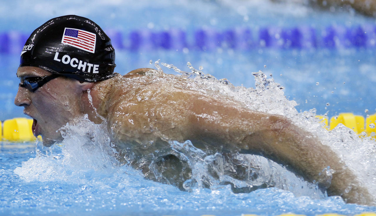 U.S. Ryan Lochte competes on his way to winning the gold medal in the men's 400m Individual Medley final at the FINA Swimming World Championships in Shanghai, China, Sunday, July 31, 2011. (AP Photo/Eugene Hoshiko)