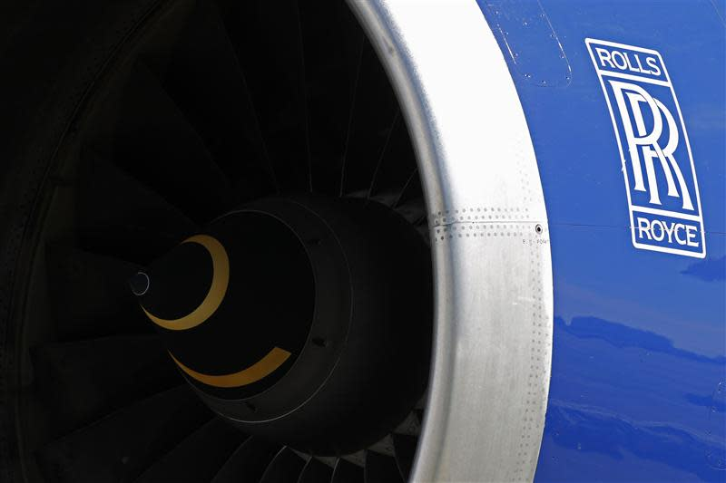 A Rolls-Royce aircraft engine of a British Airways Boeing 747 passenger aircraft is seen at Heathrow Airport in west London