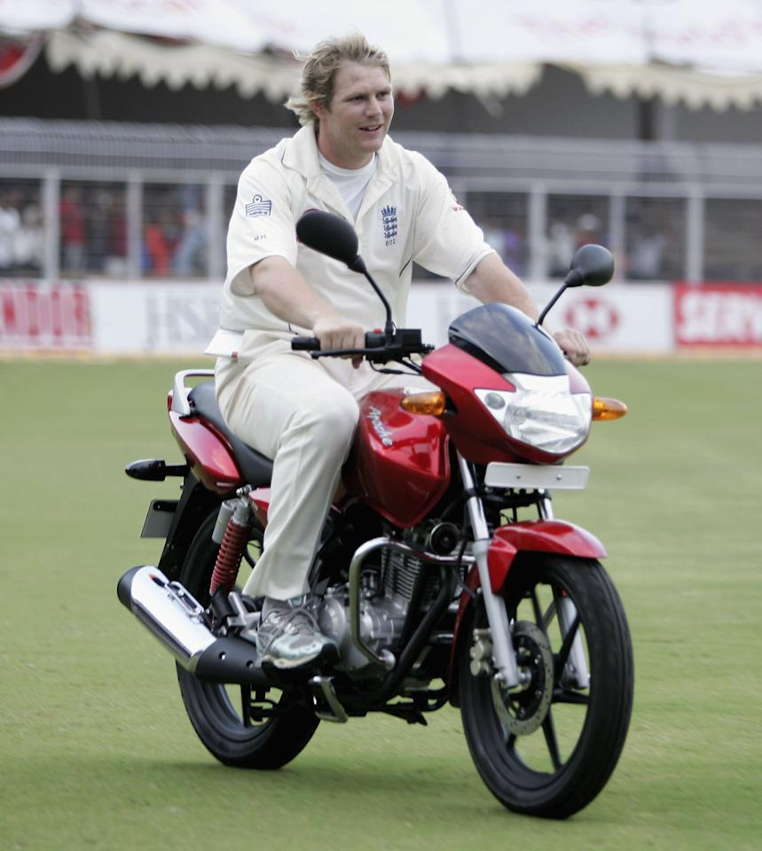 NAGPUR, INDIA - MARCH 05:  Matthew Hoggard of England drives his Man of the Match motorbike around the ground during day five of the First Test between India and England at the VCA Stadium on March 4, 2006 in Nagpur, India.  (Photo by Tom Shaw/Getty Images)