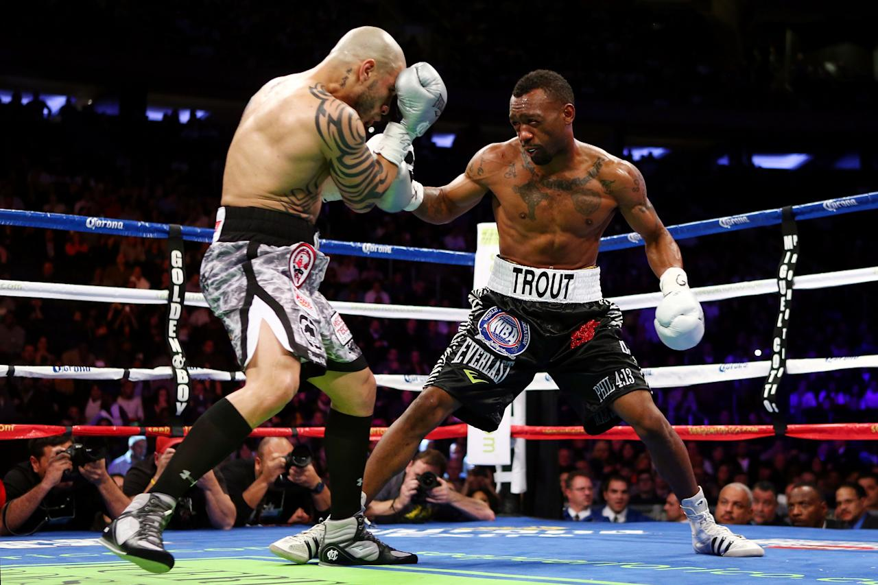 NEW YORK, NY - DECEMBER 01:  Austin Trout (R) fights against Miguel Cotto in their WBA Super Welterweight Championship title fight at Madison Square Garden on December 1, 2012 in New York City.  (Photo by Elsa/Getty Images)