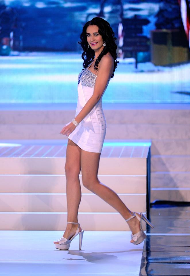 LAS VEGAS, NV - DECEMBER 19:  Miss Romania 2012, Delia Monica Duca, is introduced during the 2012 Miss Universe Pageant at PH Live at Planet Hollywood Resort & Casino on December 19, 2012 in Las Vegas, Nevada.  (Photo by David Becker/Getty Images)