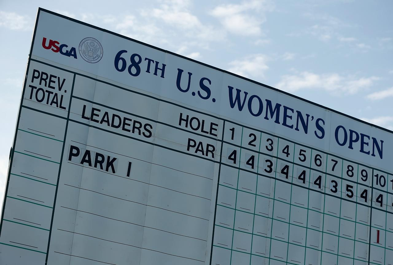 SOUTHAMPTON, NY - JUNE 27: A leaderboard is seen on the first tee with the name of Inbee Park during the first round of the 2013 U.S. Women's Open at Sebonack Golf Club on June 27, 2013 in Southampton, New York. (Photo by Scott Halleran/Getty Images)