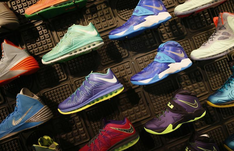 Shoes are displayed in the Nike store in Santa Monica