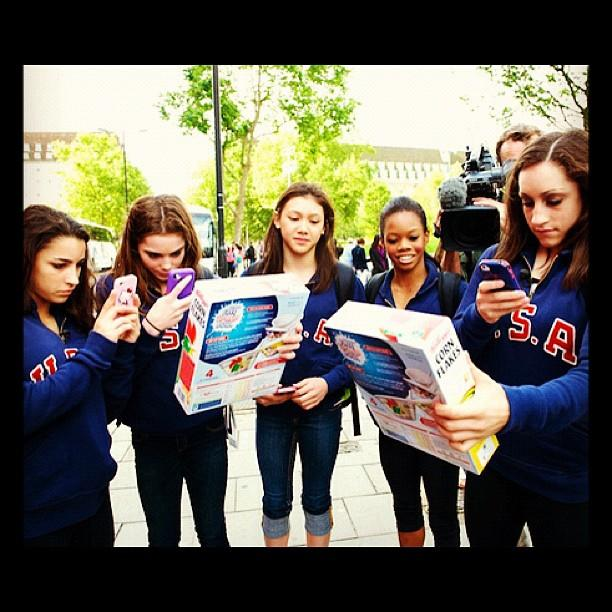 This is what we did when we found out we were on the Kelloggs Corn Flakes box! LOL ‏@jordyn_wieber