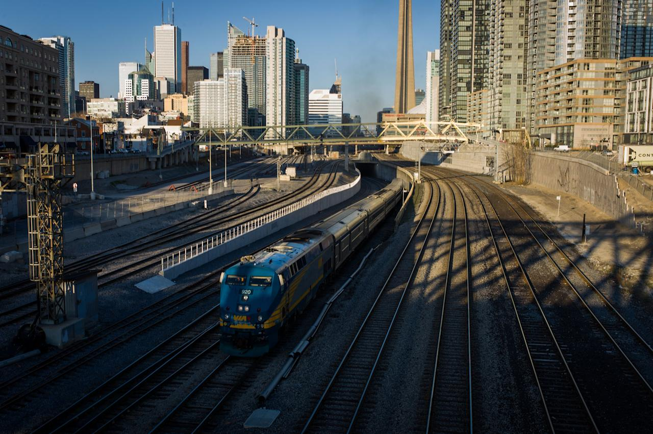 TORONTO, CANADA -  APRIL 22:  A VIA Rail train leaves Union Station, the heart of VIA Rail travel, bound for Windsor on April 22, 2013 in Toronto, Ontario, Canada. The Royal Canadian Mounted Police (RCMP) report they have arrested two people connected to an alleged Al Qaeda plot to detonate a bomb on a VIA Rail train in Canada.  (Photo by Ian Willms/Getty Images)