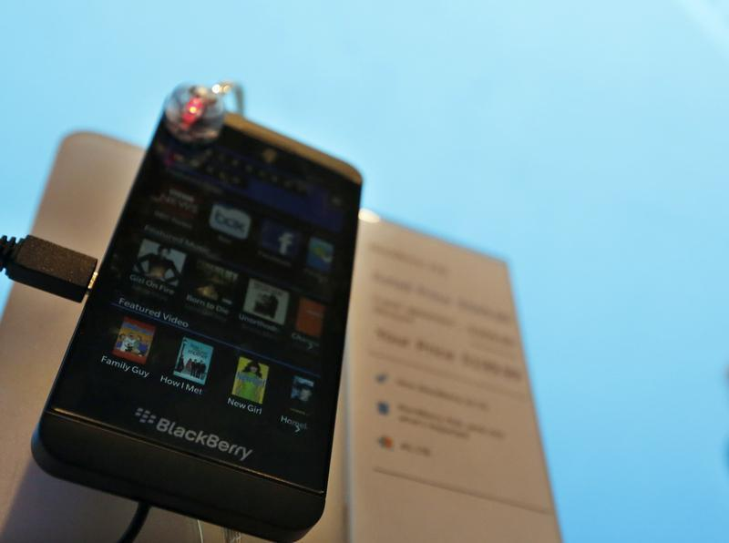 A new Blackberry Z10 smartphone is displayed at a store in New York