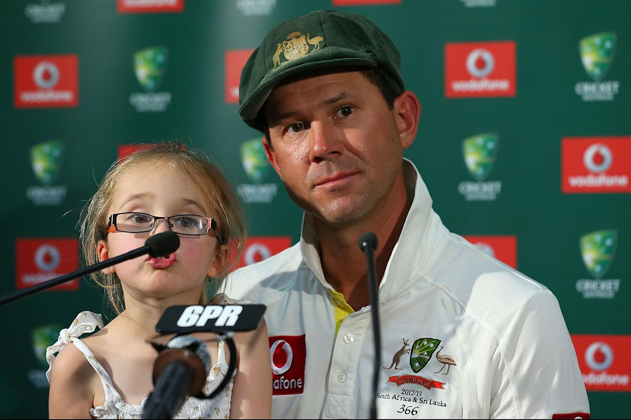 PERTH, AUSTRALIA - DECEMBER 03:  Ricky Ponting of Australia addresses a media conference with his daughter Emmy after playing his last International cricket match during day four of the Third Test Match between Australia and South Africa at WACA on December 3, 2012 in Perth, Australia.  (Photo by Paul Kane/Getty Images)