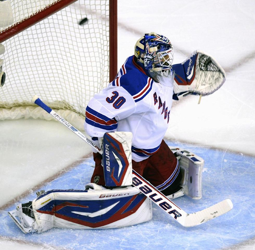 New York Rangers goalie Henrik Lundqvist (30) gives up a goal by Washington Capitals left wing Alex Ovechkin (8) in the first period of Game 6 of a second-round NHL hockey Stanley Cup playoff series in Washington, Wednesday, May 9, 2012. (AP Photo/Susan Walsh)