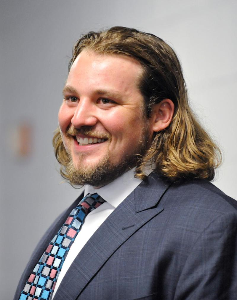 Newly-signed Jacksonville Jaguars' Zane Beadles talks to the local media after being introduced during an NFL football news conference at EverBank Field, Wednesday, March 12, 2014, in Jacksonville, Fla. Beadles, the free agent and a former Denver Broncos guard, signed a contract with the team