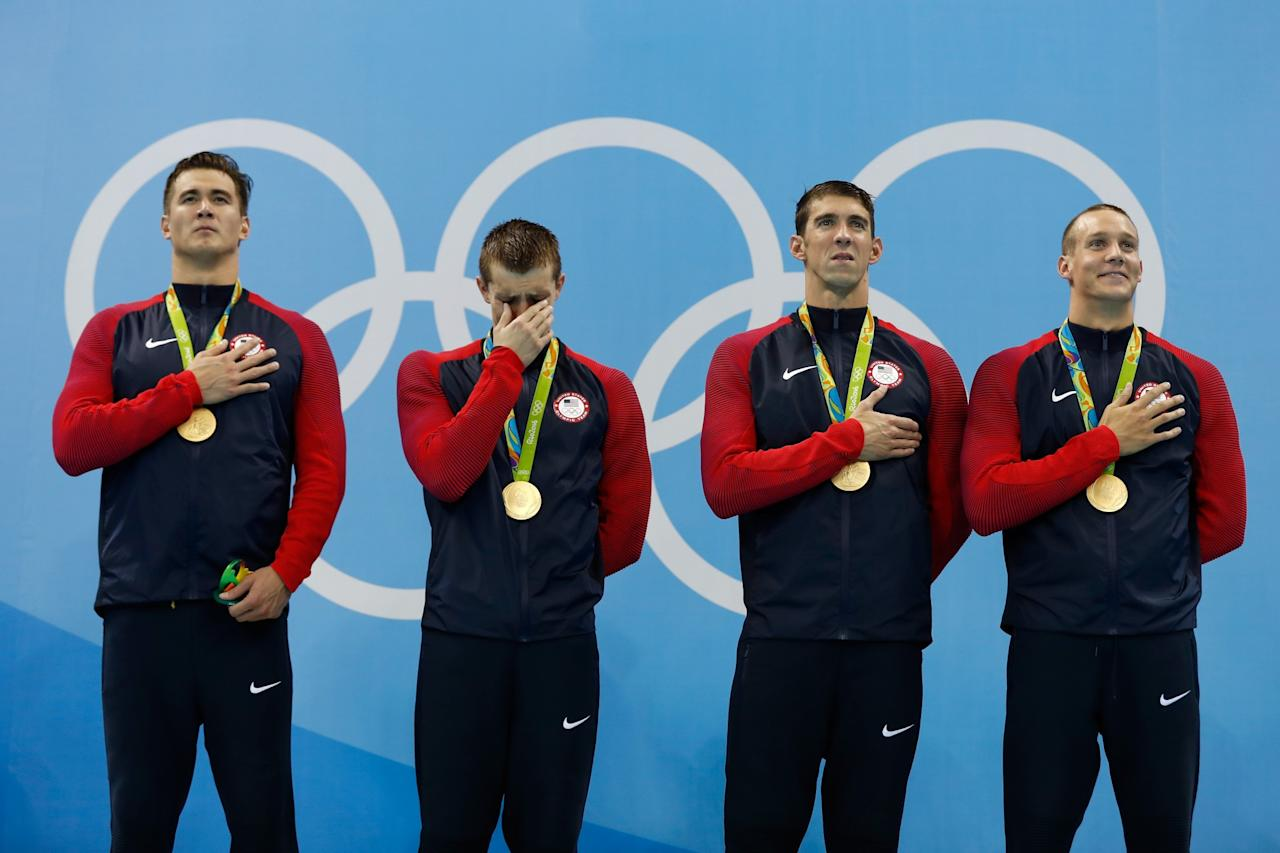 U S Swimmer Ryan Held Overcome By Emotion During Medal