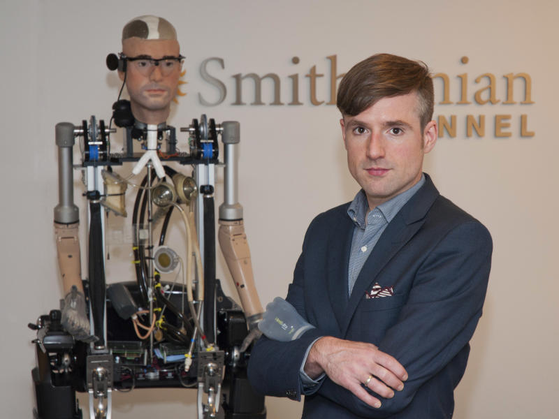 'Bionic man' walks, breathes with artificial parts
