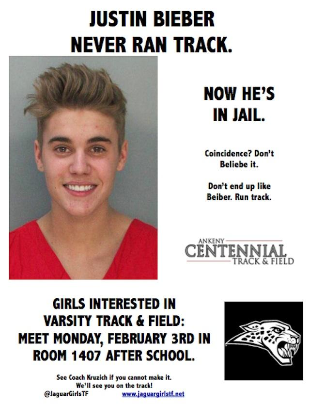 An Iowa girls' track and field coach created this Justin Bieber-themed poster to promote the sport -- Twitter