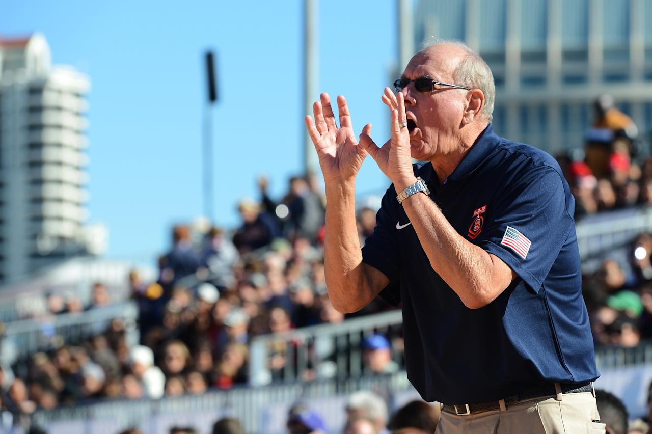 SAN DIEGO, CA - NOVEMBER 11:  Head coach Jim Boeheim of the Syracuse Orange yells to his team during the Battle On The Midway against the San Diego State Aztecs on board the USS Midway Aircraft Carrier on November 11, 2012 in San Diego, California.  (Photo by Harry How/Getty Images)
