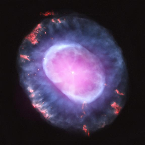 This image is of planetary nebula NGC 7662 as seen with the Chandra X-Ray Observatory. A planetary nebula is a phase of stellar evolution that the sun should experience several billion years from now, when it expands to become a red giant and t
