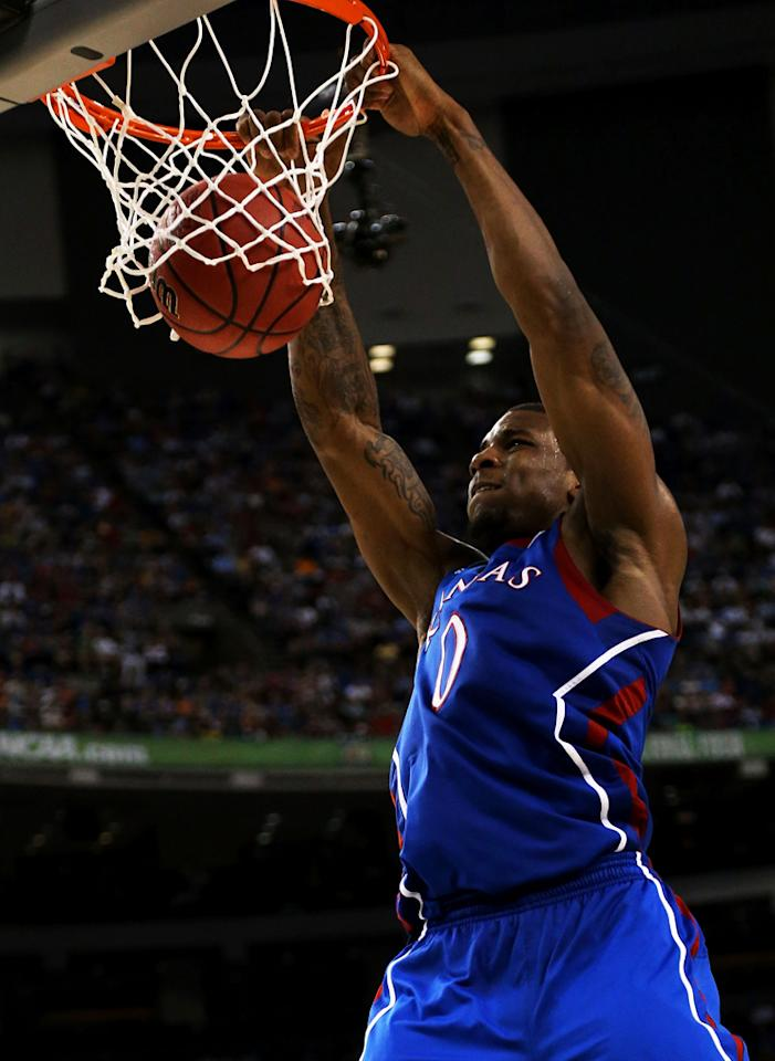 Thomas Robinson #0 of the Kansas Jayhawks dunks the ball in the second half against the Kentucky Wildcats in the National Championship Game of the 2012 NCAA Division I Men's Basketball Tournament at the Mercedes-Benz Superdome on April 2, 2012 in New Orleans, Louisiana. (Photo by Ronald Martinez/Getty Images)