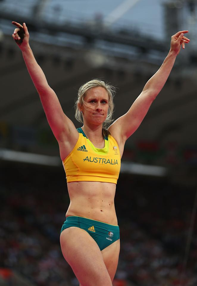 Alana Boyd of Australia reacts after making a jump in the Women's Pole Vault final on Day 10 of the London 2012 Olympic Games at the Olympic Stadium on August 6, 2012 in London, England.  (Photo by Michael Steele/Getty Images)