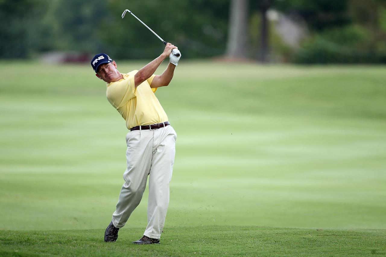 MEMPHIS, TN - JUNE 08:  Jeff  Maggert hits his second shot on the par 4 17th hole during the second round of the FedEx St. Jude Classic at TPC Southwind on June 8, 2012 in Memphis, Tennessee.  (Photo by Andy Lyons/Getty Images)
