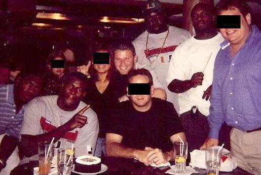 Nevin Shapiro and a second source said this photo was taken at a dinner paid for by the booster at Japanese steakhouse Benihana during the Hurricanes' 2002 season. From left to right are Jonathan Vilma, Cornelius Green, Shapiro, Andrew Williams and D.J. Williams.