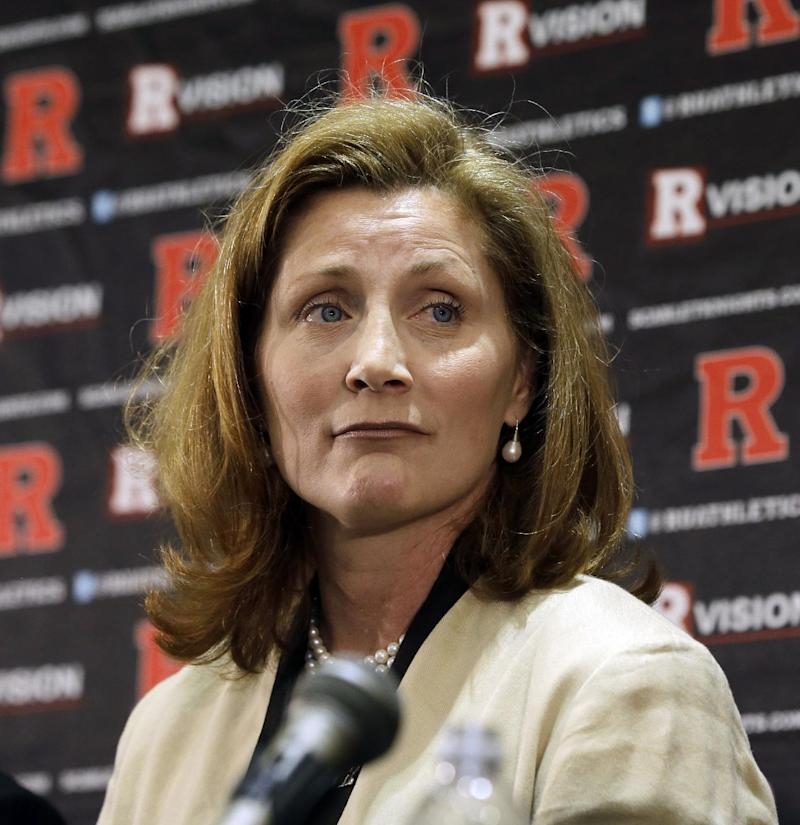 "In this May 15, 2013 file photo, Julie Hermann listens during a news conference where she was introduced as the new athletic director at Rutgers University, in Piscataway, N.J. Rutgers University's athletic director has told a class that it would be ""great"" if New Jersey's largest newspaper went out of business. The university says Hermann's remarks to a media ethics and law class in February came before she knew about deep layoffs that were announced at The Star-Ledger last week.  The Star-Ledger reported on her remarks Monday, April 7, 2014, citing a recording provided by a student"
