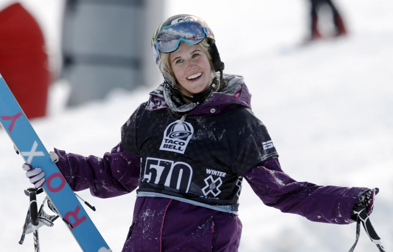 FILE - In a Jan. 28, 2010, file photo, Sarah Burke, of Canada, reacts after failing to place in the top-three finishers in the slopestyle skiing women's final at the Winter X Games at Buttermilk Mountain outside Aspen, Colo. Burke was injured Tuesday, Jan. 10, 2012, during a training session on a Superpipe at Park City Mountain Resort in Park City, Utah. Burke was airlifted to Salt Lake City for treatment. (AP Photo/David Zalubowski)