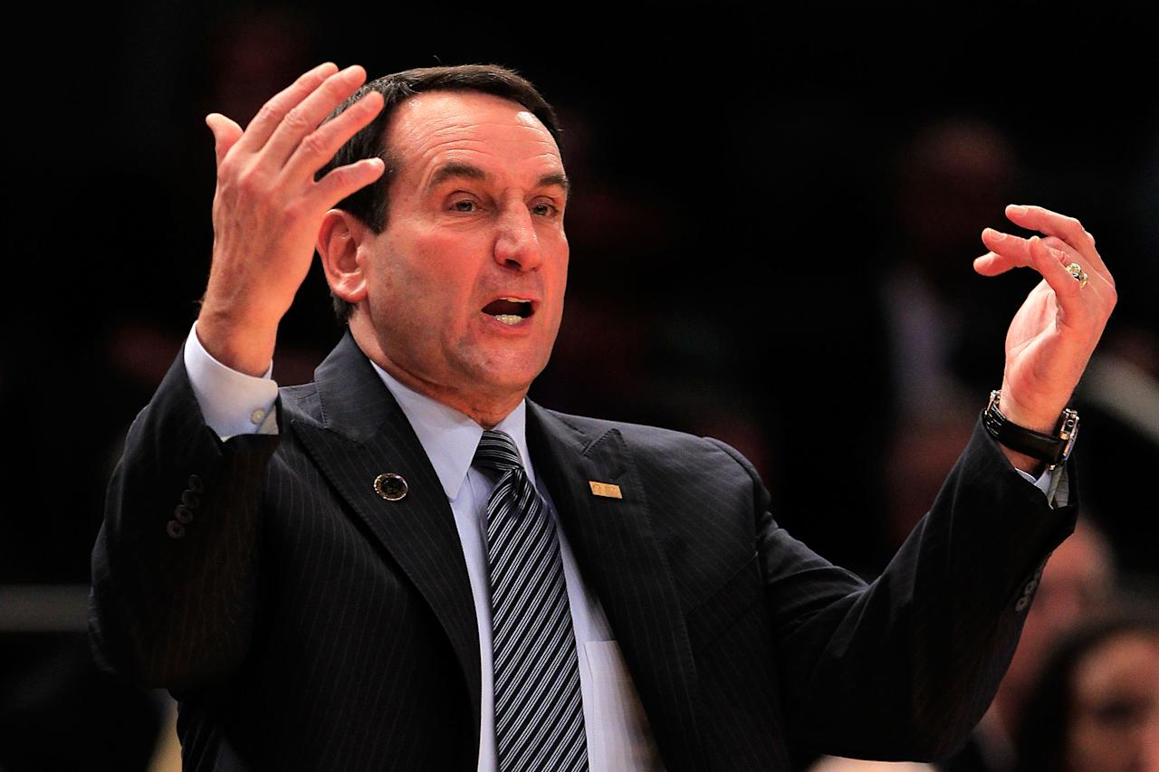 NEW YORK - NOVEMBER 15: Head coach Mike Krzyzewski of the Duke Blue Devils gestures from the sideline against the Michigan State Spartans during the 2011 State Farms Champions Classic at Madison Square Garden on November 15, 2011 in New York City.  (Photo by Chris Trotman/Getty Images)