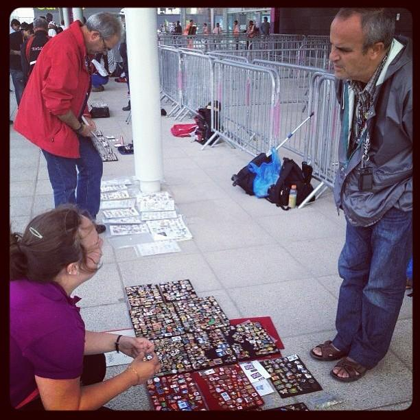 Pin trading is a common sight here in Olympic Park. #london2012 #olympics - via @danobrien