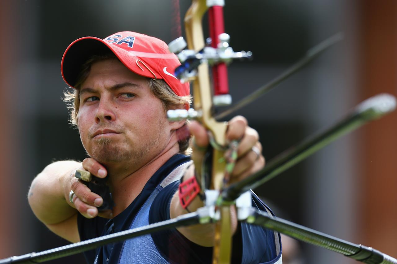 LONDON, ENGLAND - JULY 28:  Brady Ellison of the United States competes in the Men's Team Archery semi final on Day 1 of the London 2012 Olympic Games at Lord's Cricket Ground on July 28, 2012 in London, England.  (Photo by Paul Gilham/Getty Images)