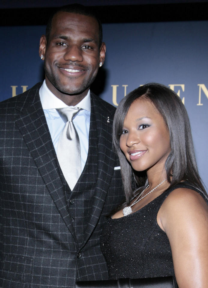 FILE - In this Sept. 1, 2008, file photo, NBA basketball player LeBron James and his girlfriend Savannah Brinson arrive at a benefit for the LeBron James Family Foundation at the Ralph Lauren mansion in New York. James and longtime girlfriend Savannah Brinson are engaged. A representative for James confirmed the news to The Associated Press on Sunday, Jan. 1, 2012, a few hours after close friend Chris Paul and Miami Heat owner Micky Arison were among those tweeting their congratulations. (AP Photo/Andy Kropa, File)