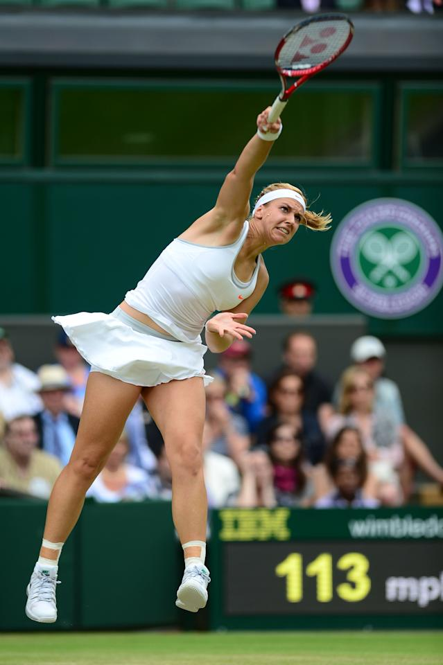 LONDON, ENGLAND - JULY 01: Sabine Lisicki of Germany serves during her Ladies' Singles fourth round match against Serena Williams of United States of America on day seven of the Wimbledon Lawn Tennis Championships at the All England Lawn Tennis and Croquet Club on July 1, 2013 in London, England. (Photo by Mike Hewitt/Getty Images)