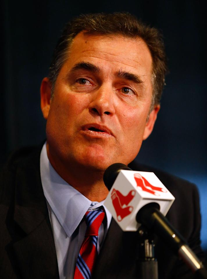 BOSTON, MA - OCTOBER 23:  The Boston Red Sox announce John Farrell as the new manager, the 46th manager in the club's 112-year history, on October 23, 2012 at Fenway Park in Boston, Massachusetts.  (Photo by Jared Wickerham/Getty Images)