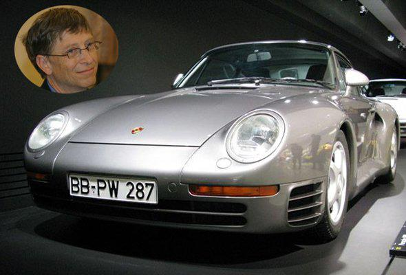 Bill Gates' Porsche 959 Coupe is one of only 230 in the world. It took a federal law signed by then-president Bill Clinton to allow the billionaire to drive the car because there was no crash-test rating. The price for such a car? $225,000 when new, they now go for well over $400,000. information via billionairecars.com and insideline.com.