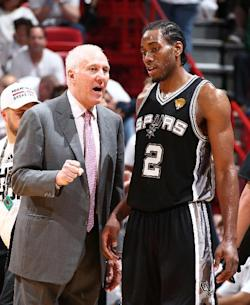 Spurs coach Gregg Popovich urged Kawhi Leonard to be more aggressive in Game 3. (NBAE/Getty Images)