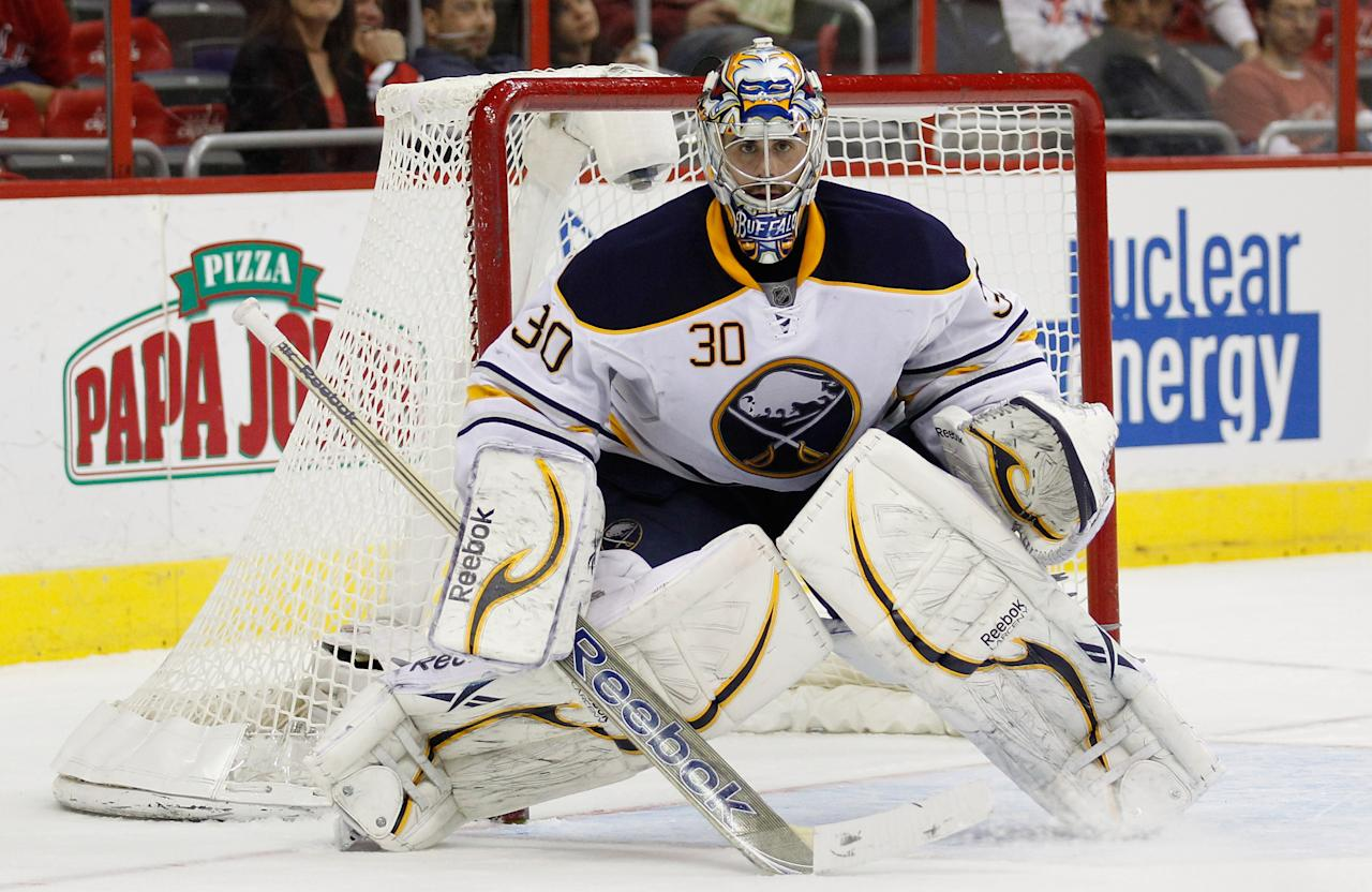 WASHINGTON, DC - MARCH 27:  Goalie Ryan Miller #30 of the Buffalo Sabres follows the puck against the Washington Capitals during the third period at the Verizon Center on March 27, 2012 in Washington, DC.  (Photo by Rob Carr/Getty Images)
