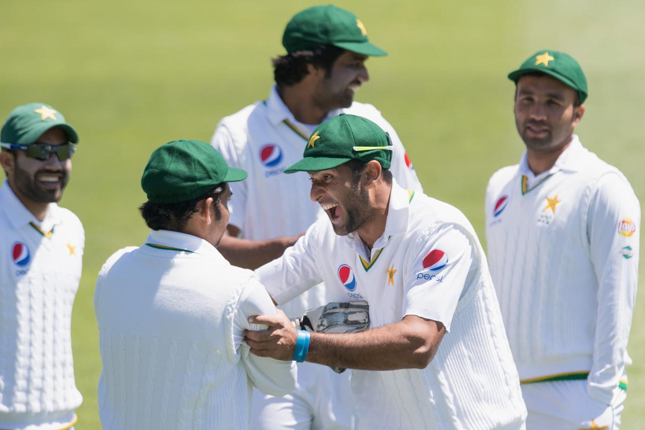 <p>Mohammad Amir of Pakistan reacting during day four of the First Test between New Zealand and Pakistan at Hagley Oval on November 20, 2016 in Christchurch, New Zealand. </p>