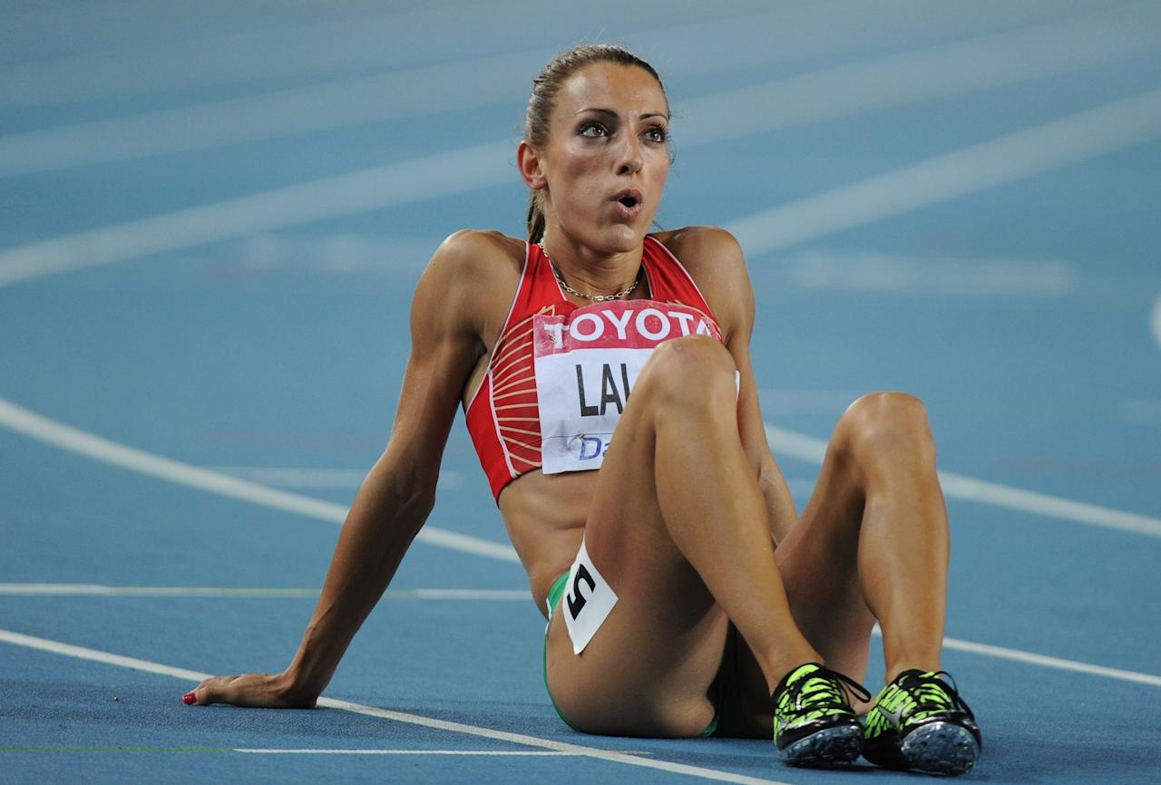 Bulgaria's Ivet Lalova reacts after the women's 200 metres semi-final at the International Association of Athletics Federations (IAAF) World Championships in Daegu on September 1, 2011.      AFP PHOTO / OLIVIER MORIN (Photo credit should read OLIVIER MORIN/AFP/Getty Images)