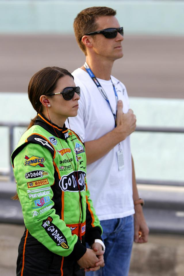 HOMESTEAD, FL - NOVEMBER 20:  Danica Patrick, driver of the #7 GoDaddy.com Chevrolet, stands with her husband Paul Hospenthal prior to the NASCAR Nationwide Series Ford 300 at Homestead-Miami Speedway on November 20, 2010 in Homestead, Florida.  (Photo by Chris Trotman/Getty Images for NASCAR)