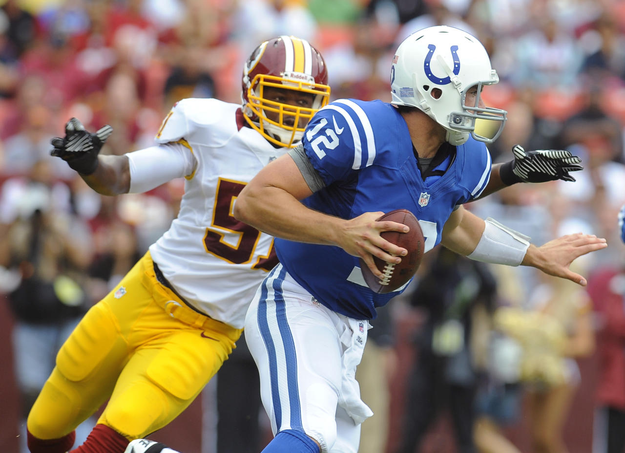 Indianapolis Colts quarterback Andrew Luck scrambles away from Washington Redskins linebacker Chris Wilson during the first half of an NFL preseason football game Saturday, Aug. 25, 2012, in Landover, Md. (AP Photo/Richard Lipski)