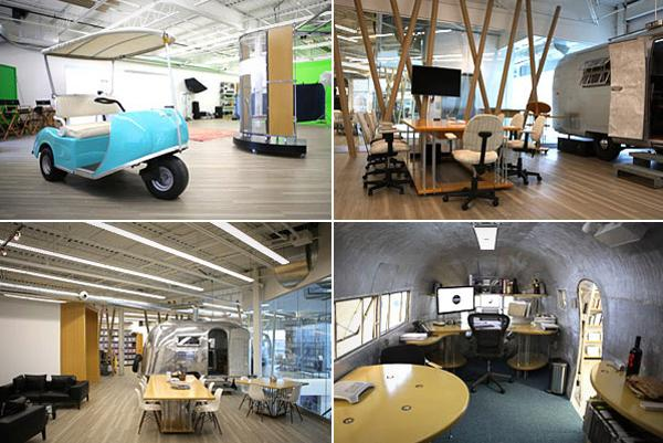 "The office is in a 5,800-square-foot industrial space. Instead of cubicles, individual office spaces are inside of Airstream trailers.   In an article in Canadian Interiors, company president and creative director Laurence Metrick said, ""I knew we got it right when the first 10 guests asked if they could rent an office here."""