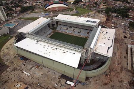 An aerial view of the construction of the Arena Pantanal soccer stadium, which will host several matches of the 2014 World Cup, in Cuiaba