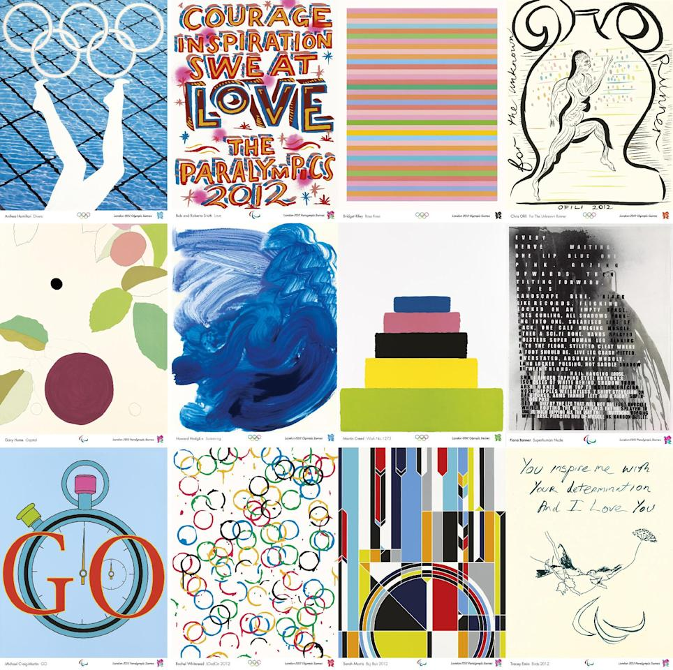 London 2012 handout composite photo showing posters by (top row, from the left) Anthea Hamilton, Bob and Roberta Smith, Bridget Riley, Chris Ofili, (second row, from the left) Gary Hume, Howard Hodgkin, Martin Creed, Fiona Banner, (bottom row, from the left) Michael Craig Martin, Rachel Whiteread, Sarah Morris and Tracey Emin, which have been chosen as the 12 official poster images for the London 2012 Olympic Games and released Friday Nov. 4, 2011. The images, designed by 12 top British artists, including four Turner Prize winners and five who have represented the UK at the Venice Biennale, are now part of a tradition dating back to 1912. David Hockney, Andy Warhol and Roy Lichtenstein have created posters for previous Games. (AP Photo/ London 2012) EDITORIAL USE ONLY