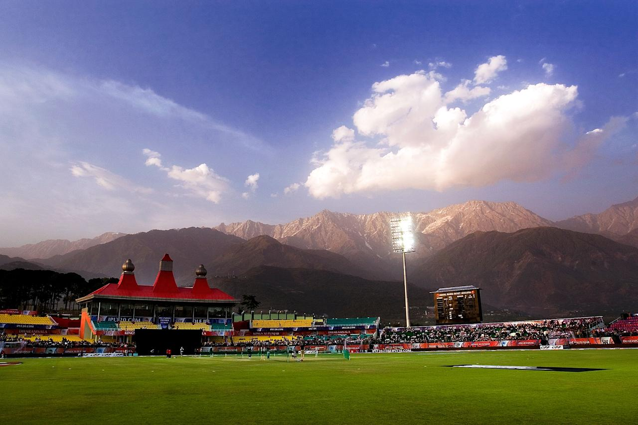 DHARAMSALA, INDIA - APRIL 16:  An overview of the Himachal Pradesh Cricket Association Stadium during the 2010 DLF Indian Premier League T20 group stage match between Kings XI Punjab and Deccan Chargers played at Himachal Pradesh Cricket Association Stadium on April 16, 2010 in Dharamsala, India.  (Photo by Ritam Banerjee-IPL 2010/IPL via Getty Images)