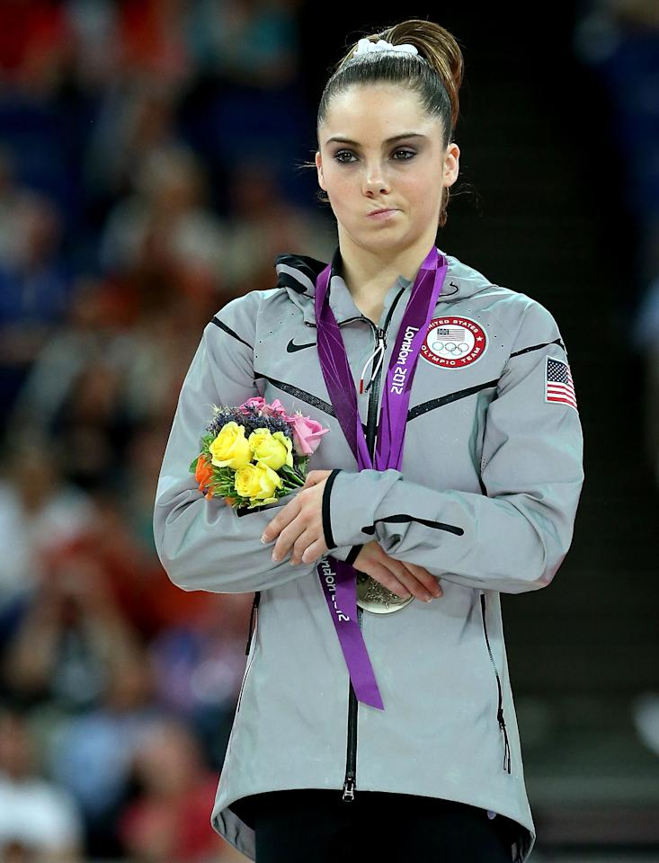 McKayla Maroney of the United States stands on the podium with her silver medal during the medal ceremony following the Artistic Gymnastics Women's Vault final on Day 9 of the London 2012 Olympic Games at North Greenwich Arena on August 5, 2012 in London, England.  (Photo by Ronald Martinez/Getty Images)