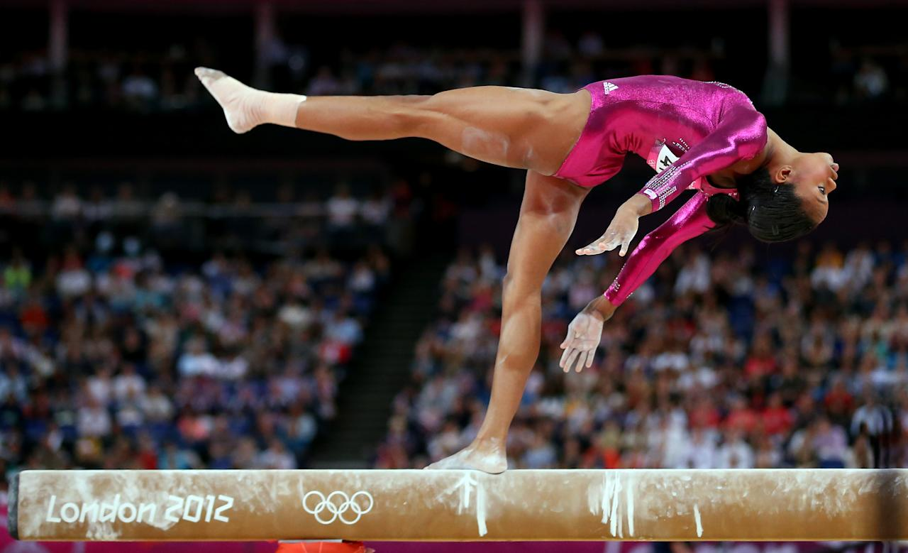 Gabrielle Douglas of the United States competes on the balance beam in the Artistic Gymnastics Women's Individual All-Around final on Day 6 of the London 2012 Olympic Games at North Greenwich Arena on August 2, 2012 in London, England.  (Photo by Streeter Lecka/Getty Images)